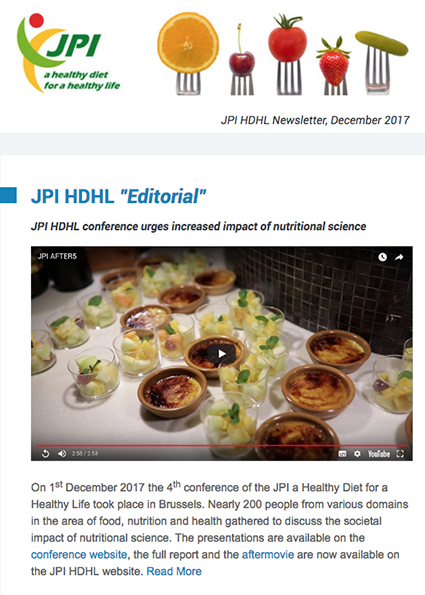 JPI HDHL Newsletter, December 2017