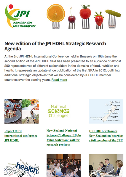 JPI HDHL Newsletter, July 2015