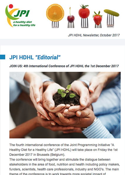 JPI HDHL Newsletter, October 2017